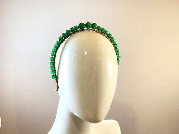 Vintage Moonglow Headband-Watermelon Green Striped