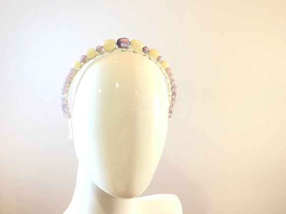 Vintage Moonglow Headband- Lavender and white