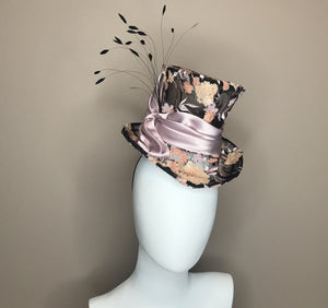 Black Floral Mini Top Hat