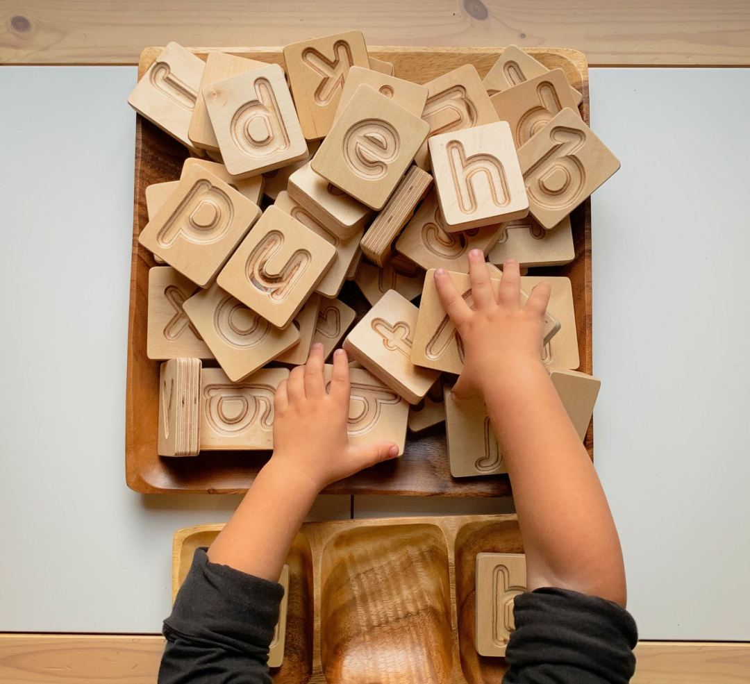 Handcrafted Wooden Alphabet Cuboids (Natural) by Hellion Toys