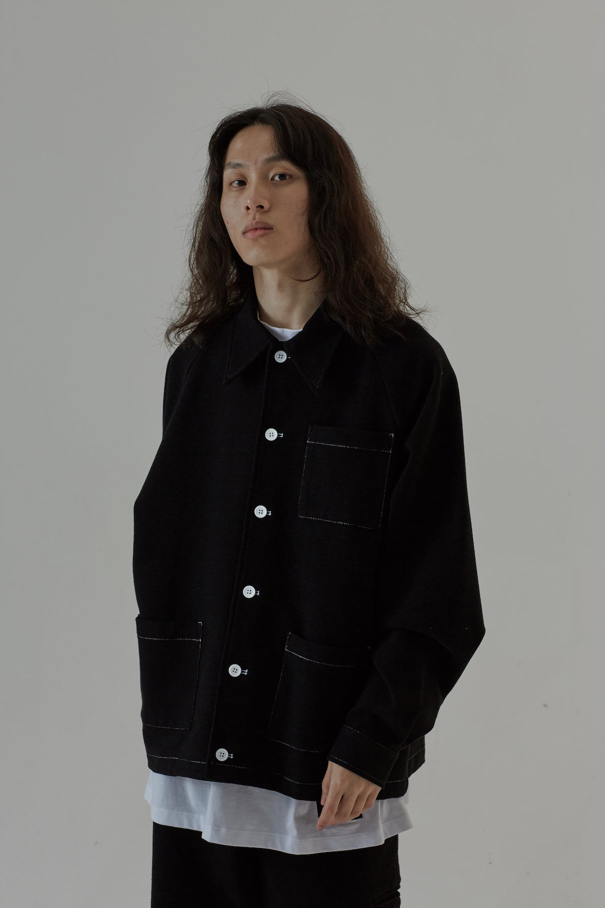 SHORT WOOL JACKET - BLACK