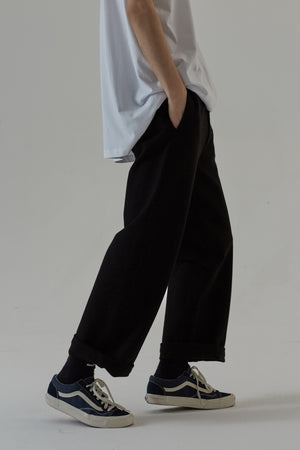 ELASTIC WOOL TROUSER - BLACK