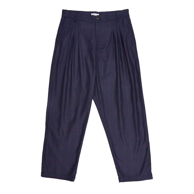 Pleated Check Trousers - Navy