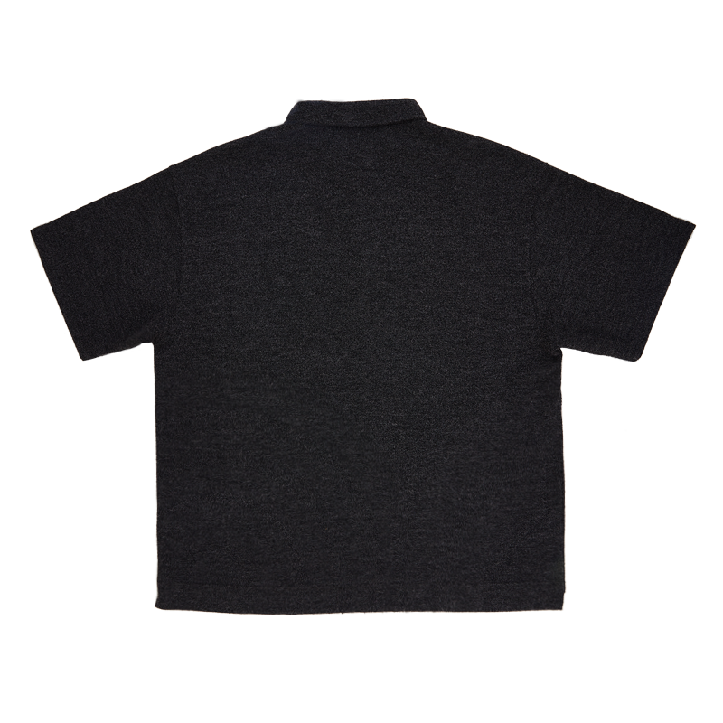 Oversized Knit Polo Shirt - Black