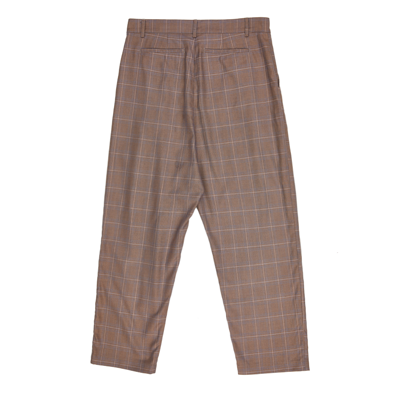 Pleated Check Trousers - Khaki