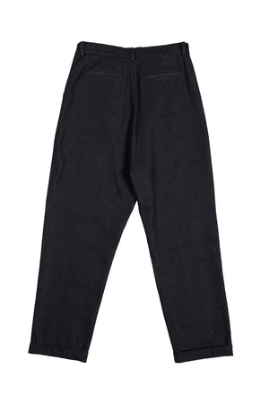 Denim Pleated Trousers - Black