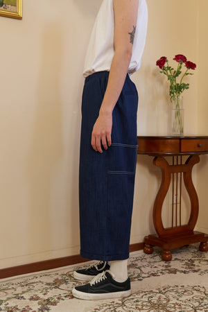 Elasticated Denim Trousers - Dark Blue
