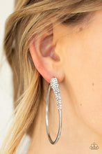 Load image into Gallery viewer, Winter Ice | Paparazzi White Hoop Earrings - BlingbyAshleyNicole