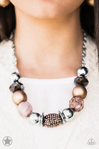 A Warm Welcome - Paparazzi Brown Blockbuster Necklace - BlingbyAshleyNicole