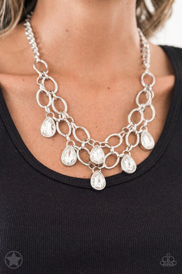 Show-Stopping Shimmer - Paparazzi Blockbuster White Necklace - BlingbyAshleyNicole