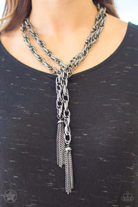 Scarfed for Attention - Paparazzi Gunmetal Blockbuster Necklace - BlingbyAshleyNicole