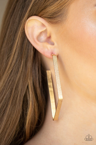 Way Over The Edge - Paparazzi Gold Hoop Earrings - BlingbyAshleyNicole
