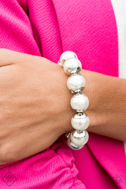 One Woman Show-STOPPER - Paparazzi White Bracelet - BlingbyAshleyNicole