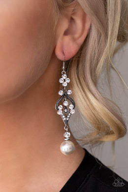 Elegantly Extravagant - Paparazzi White Earrings - BlingbyAshleyNicole