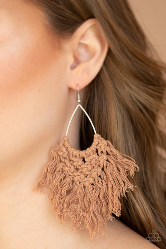 Oh MACRAME, Oh My - Paparazzi Brown Earrings - BlingbyAshleyNicole
