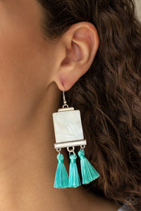 Tassel Retreat - Blue Paparazzi Earrings - BlingbyAshleyNicole