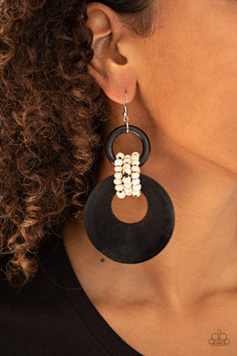 Beach Day Drama - Paparazzi Black Earrings - BlingbyAshleyNicole