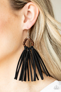 Easy To PerSUEDE - Paparazzi Black Earrings - BlingbyAshleyNicole