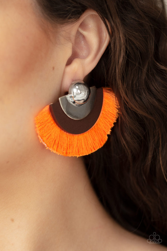 Fan The FLAMBOYANCE - Paparazzi Orange Earrings - BlingbyAshleyNicole