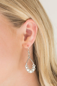 Fancy First | Paparazzi White Earring - BlingbyAshleyNicole