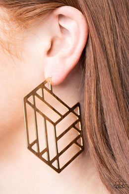 Gotta Get GEO-ing | Paparazzi Gold Earrings - BlingbyAshleyNicole