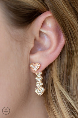 Heartthrob Twinkle | Paparazzi Rose Gold Post Earrings - BlingbyAshleyNicole