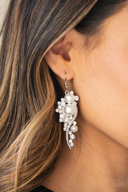 High-End Elegance | Paparazzi White Earring - BlingbyAshleyNicole
