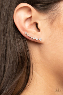 New Age Nebula | Paparazzi White/Silver Ear Crawler Earring - BlingbyAshleyNicole