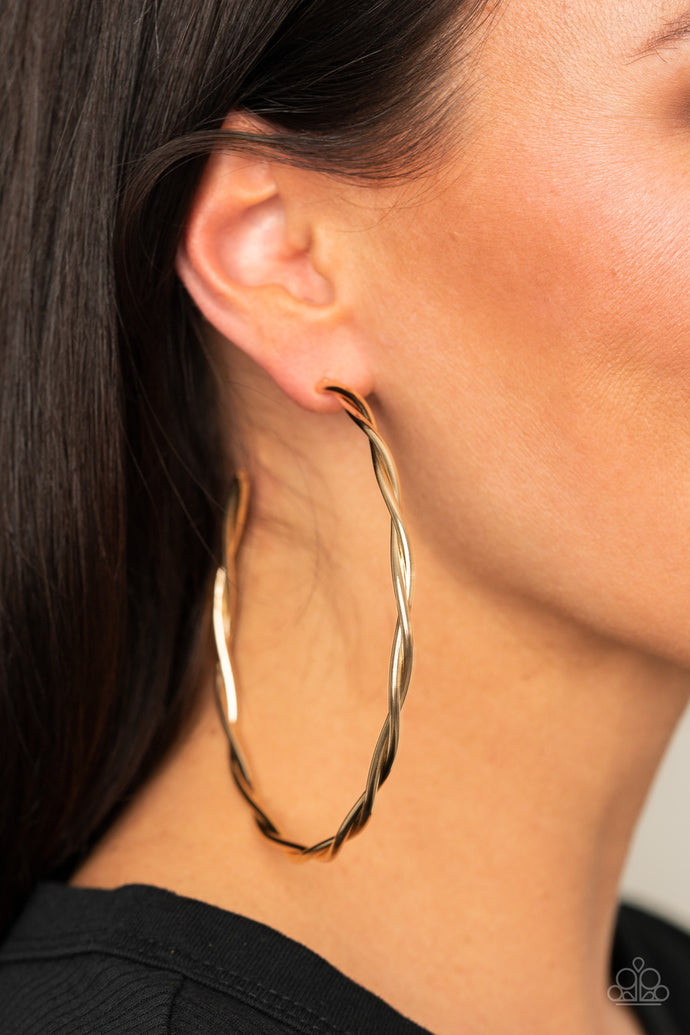 Out of Control Curves | Paparazzi Gold Hoop Earring - BlingbyAshleyNicole