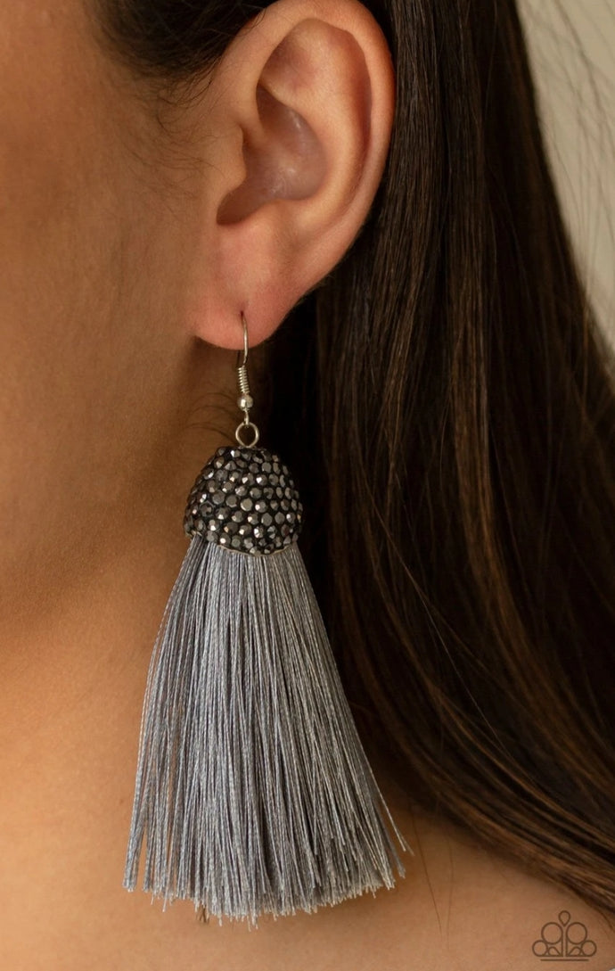 Razzle Riot Silver Earrings - BlingbyAshleyNicole