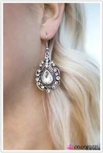Dancing With The Stars - Paparazzi White/Silver Earring - BlingbyAshleyNicole