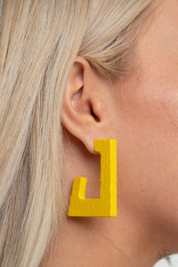 The Girl Next OUTDOOR | Paparazzi Yellow Earrings - BlingbyAshleyNicole