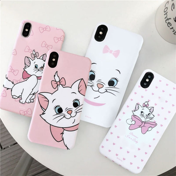 Cartoon Pink Marie Cat Phone Case For iPhone XS