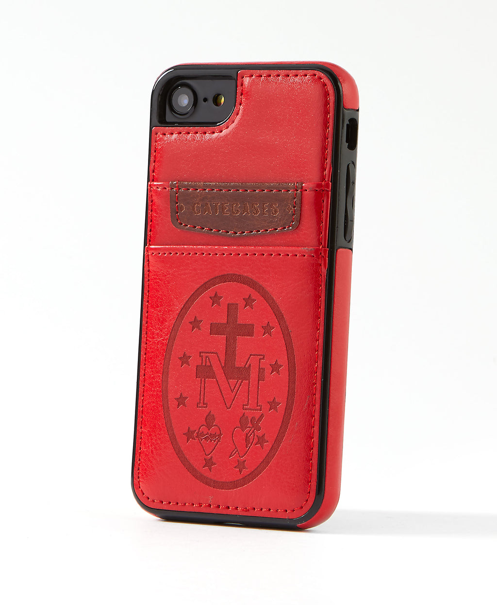 Miraculous Medal Red Leather Card Case for iPhone 7/8