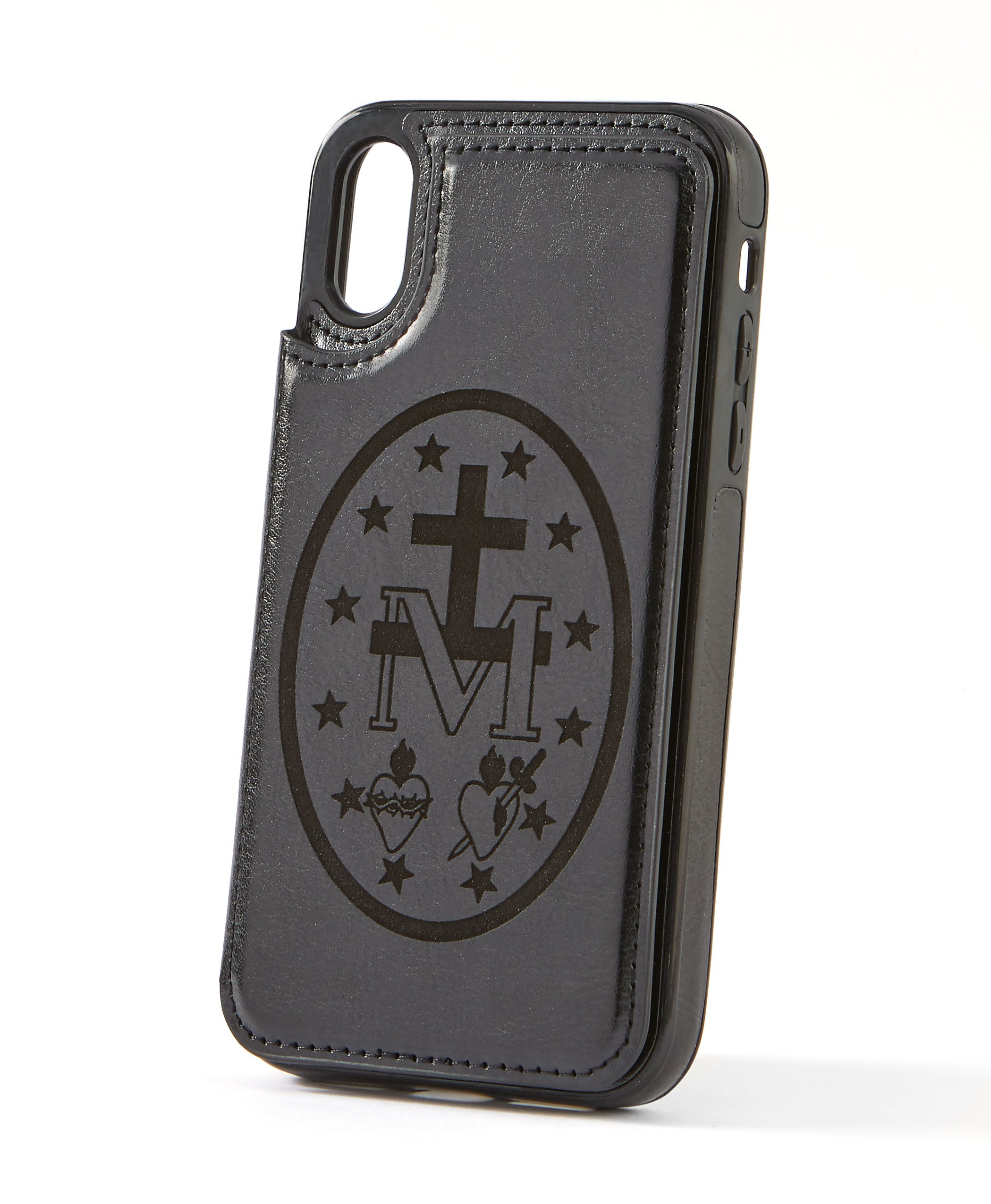 Miraculous Medal Black Leather Wallet Case for iPhone XR