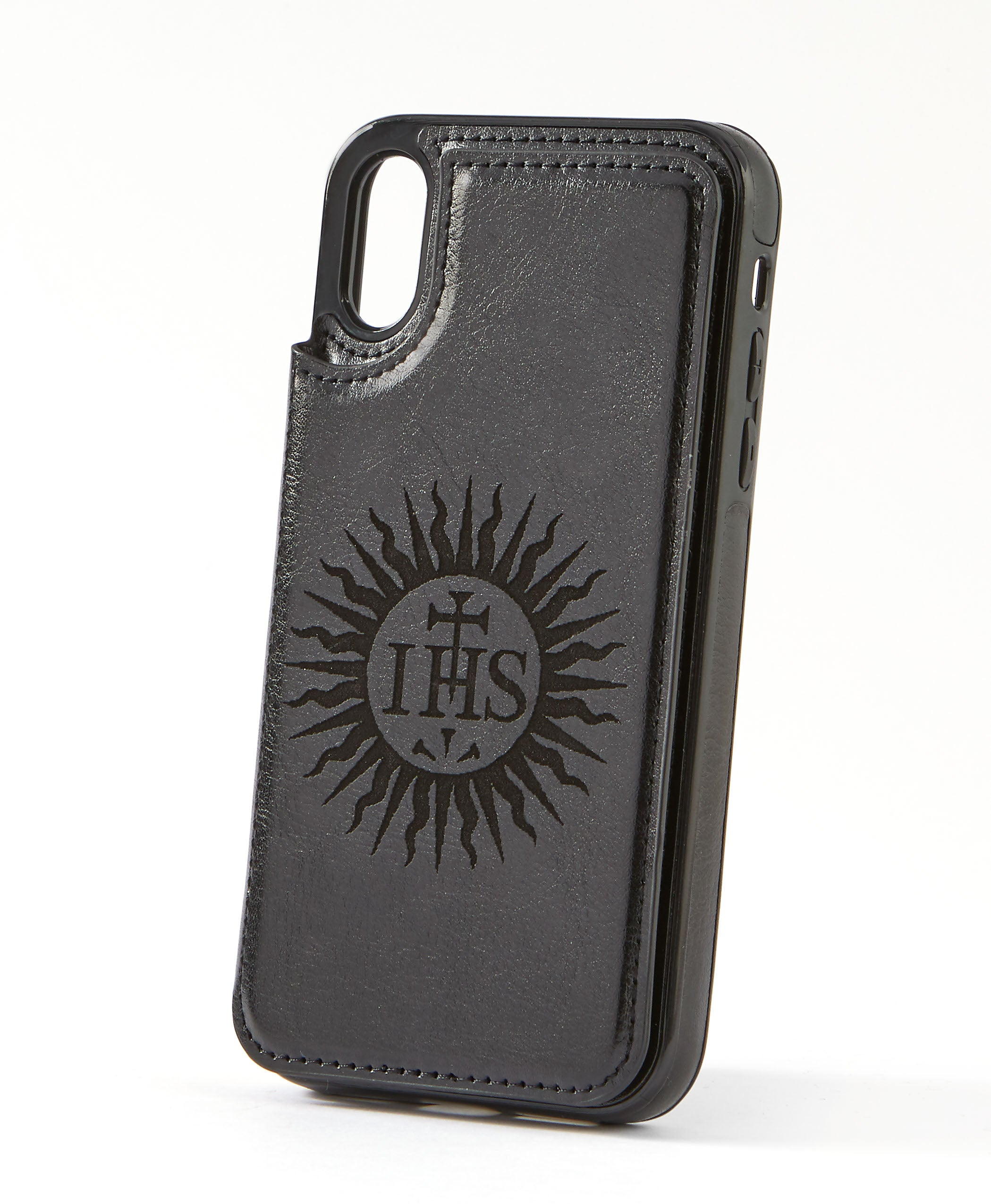 Sunburst Black Leather Wallet Case for iPhone XR