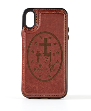 Miraculous Medal Brown Leather Wallet Case for iPhone XR
