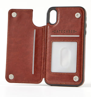 Sunburst Brown Leather Wallet Case for iPhone XR