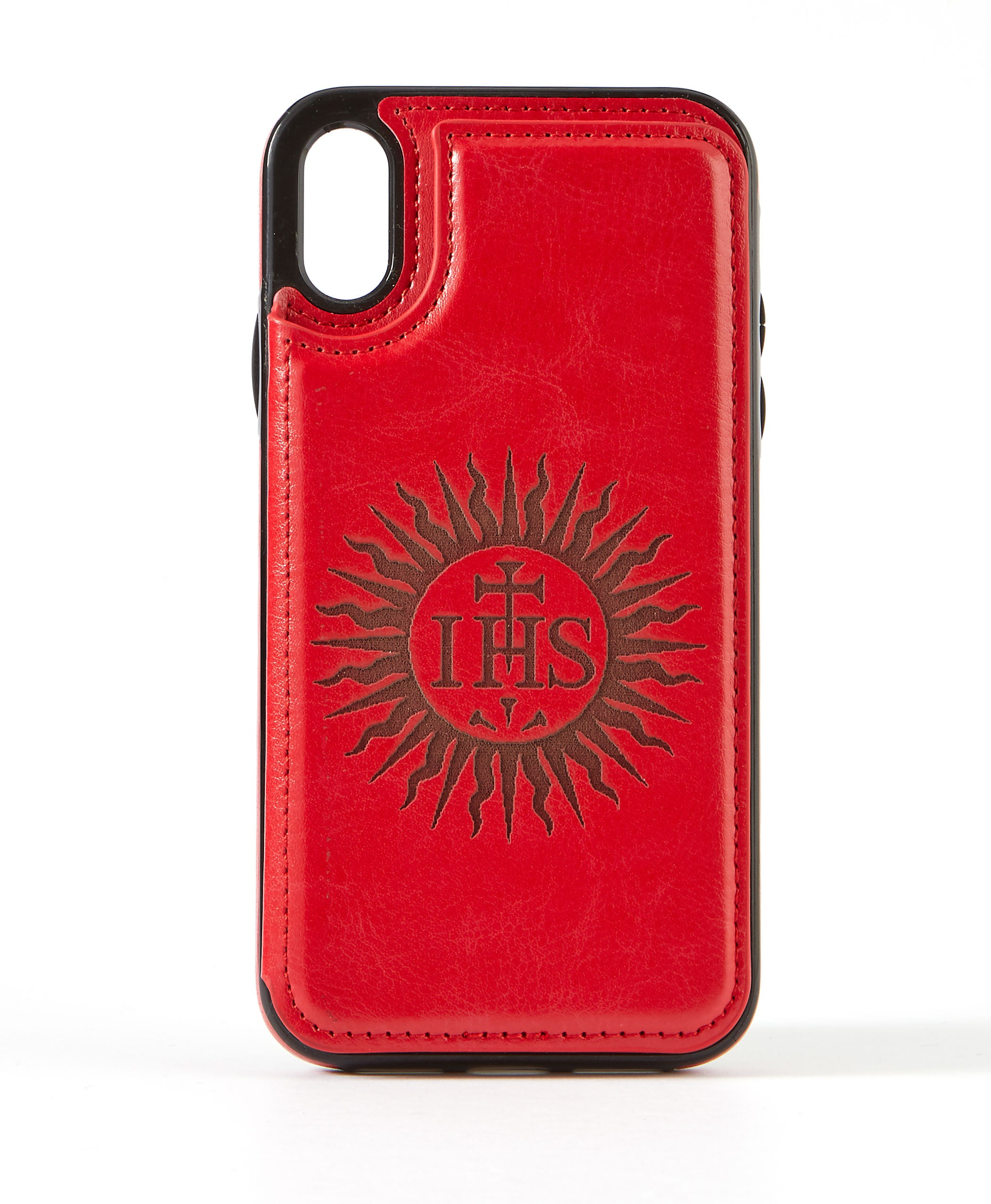 Sunburst Red Leather Wallet Case for iPhone XR