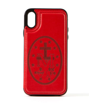Miraculous Medal Red Leather Wallet Case for iPhone XR