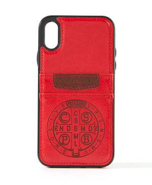Benedictine Red Leather Card Case for iPhone X/XS