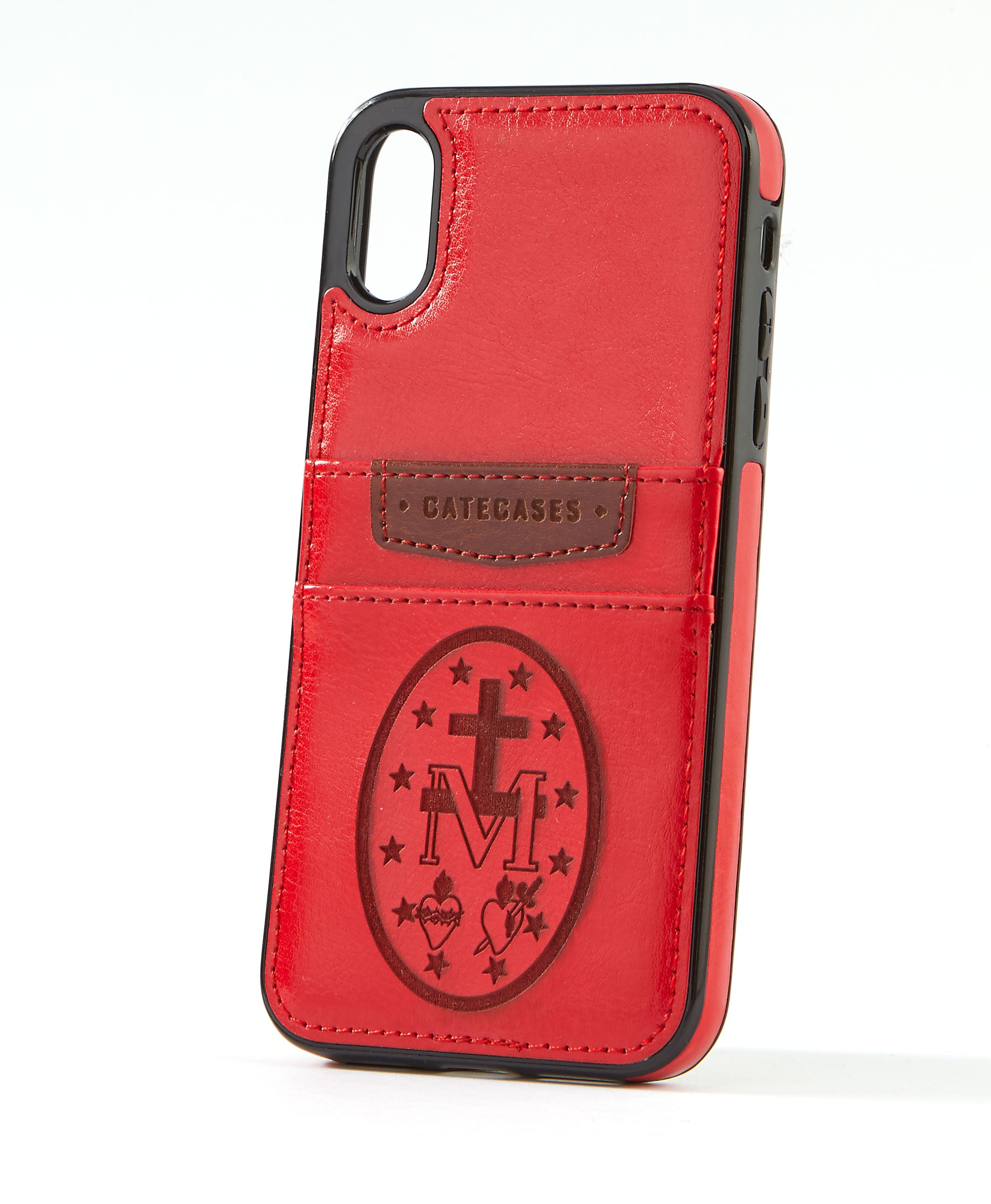 Miraculous Medal Red Leather Card Case for iPhone X/XS