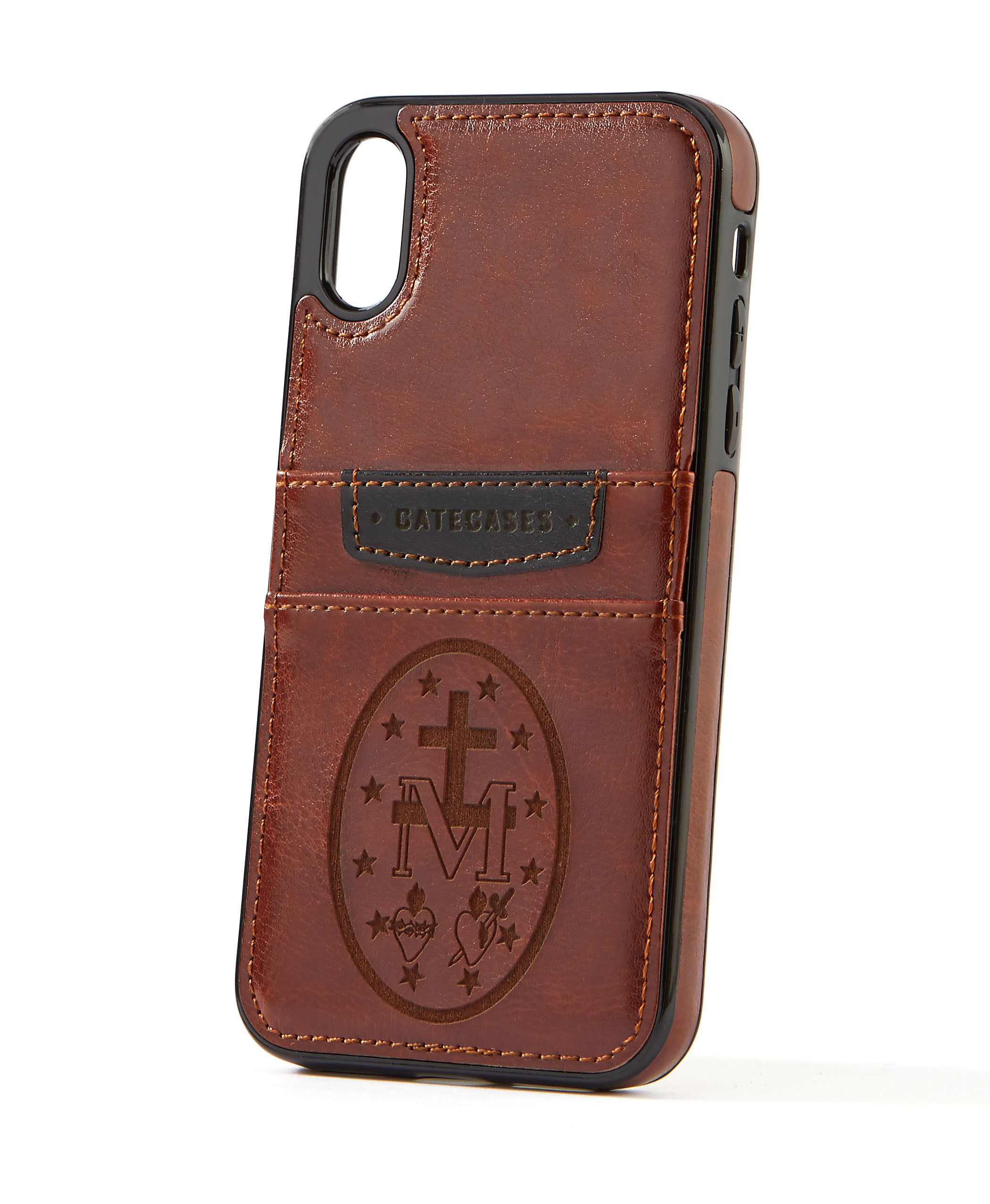 Miraculous Medal Brown Leather Card Case for iPhone XR