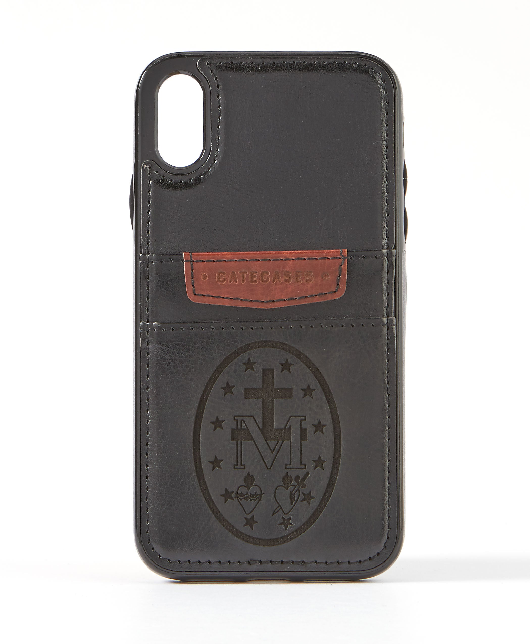 Miraculous Medal Black Leather Card Case for iPhone XR