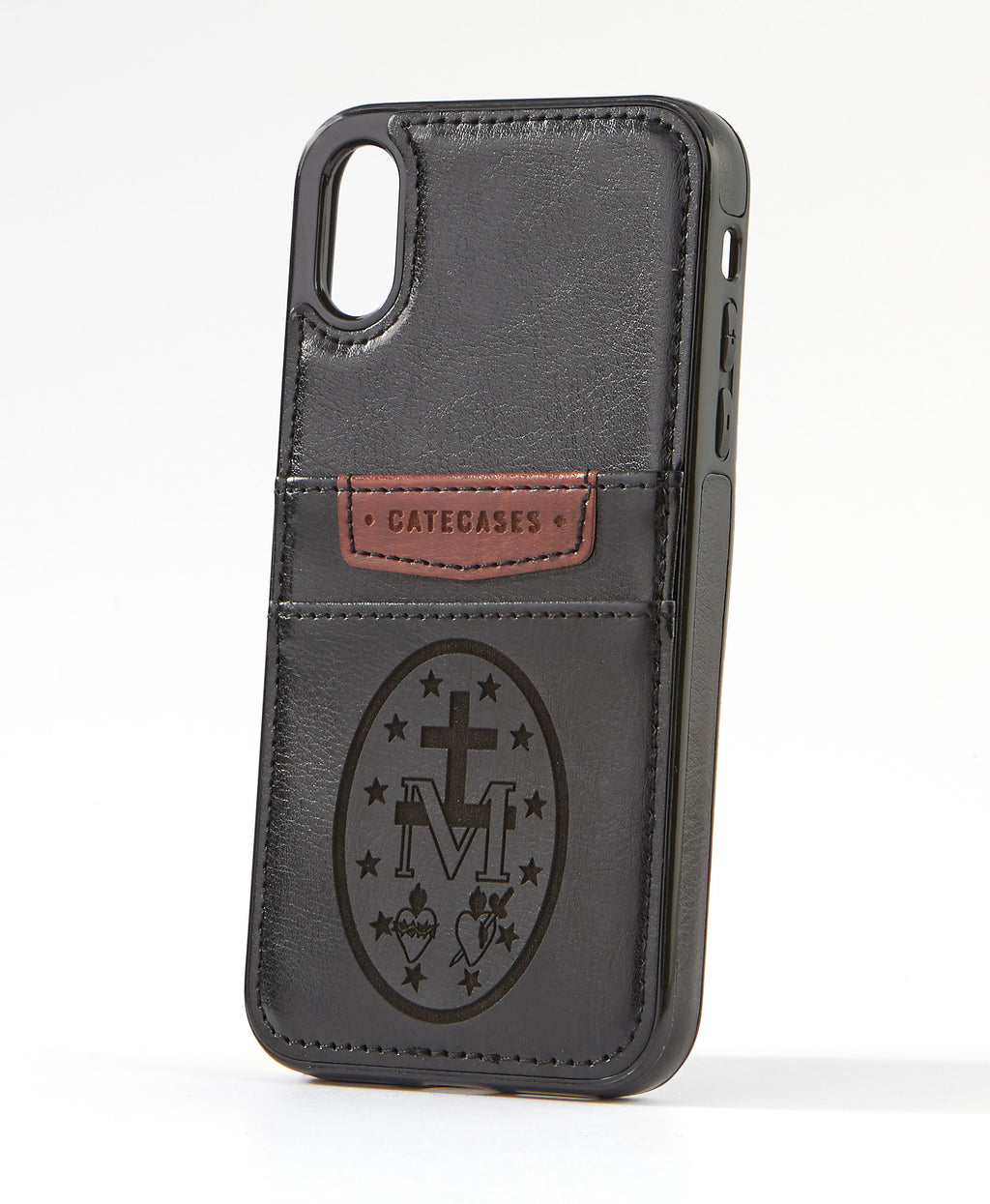 Miraculous Medal Black Leather Card Case for iPhone X/XS