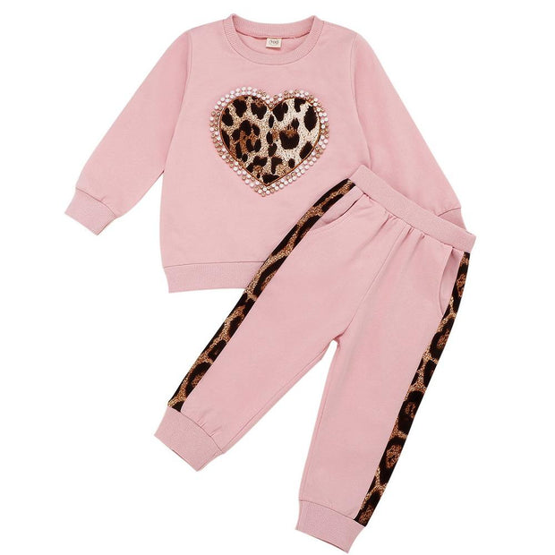 Baby/Toddler Girl Beaded Contrast Leopard Top & Pants
