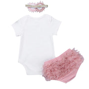 Baby Girl Short Sleeve Bodysuit & Layered Ruffle Shorts