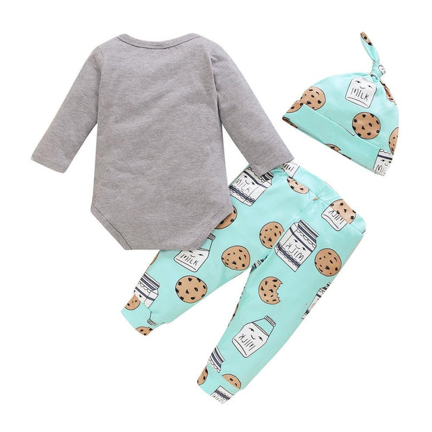 Baby Boy Letter Bodysuit & Cartoon Graphic Pants