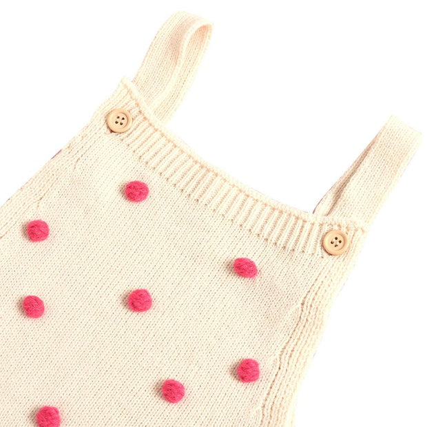 Baby Girl Button Side Pompom Detail Knit Bodysuit
