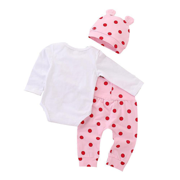 Baby Girl Cartoon Print Bodysuit & Polka Dot Pants